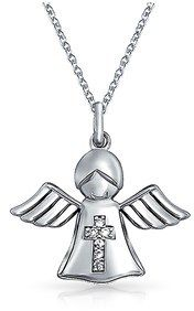 Bling Jewelry Guardian Angel Childrens Cz Wings Cross Religious Pendant Sterling Silver Necklace 18 Inches.