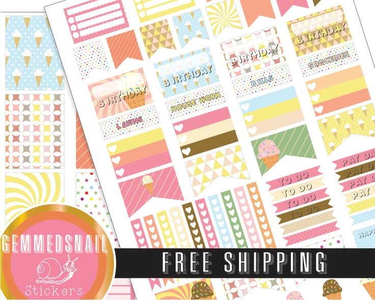 Ice cream planner stickers, FREE SHIPPING. includes full box planner stickers fits Erin Condren planners