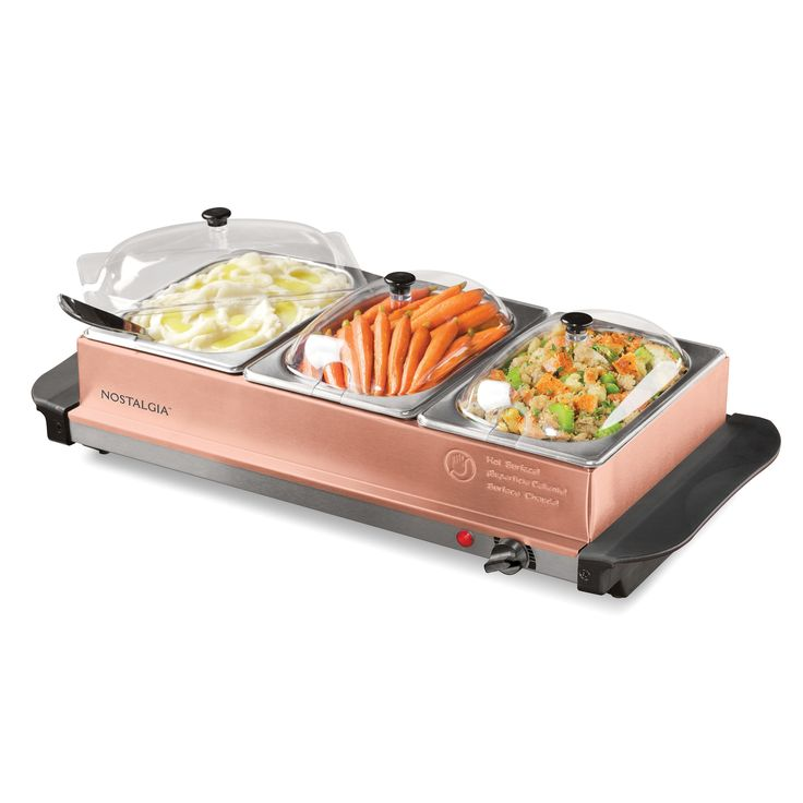 Nostalgia BSC15 Copper 3-Station 4.5-Quart Buffet Server & Warming Tray (Copper), Bronze