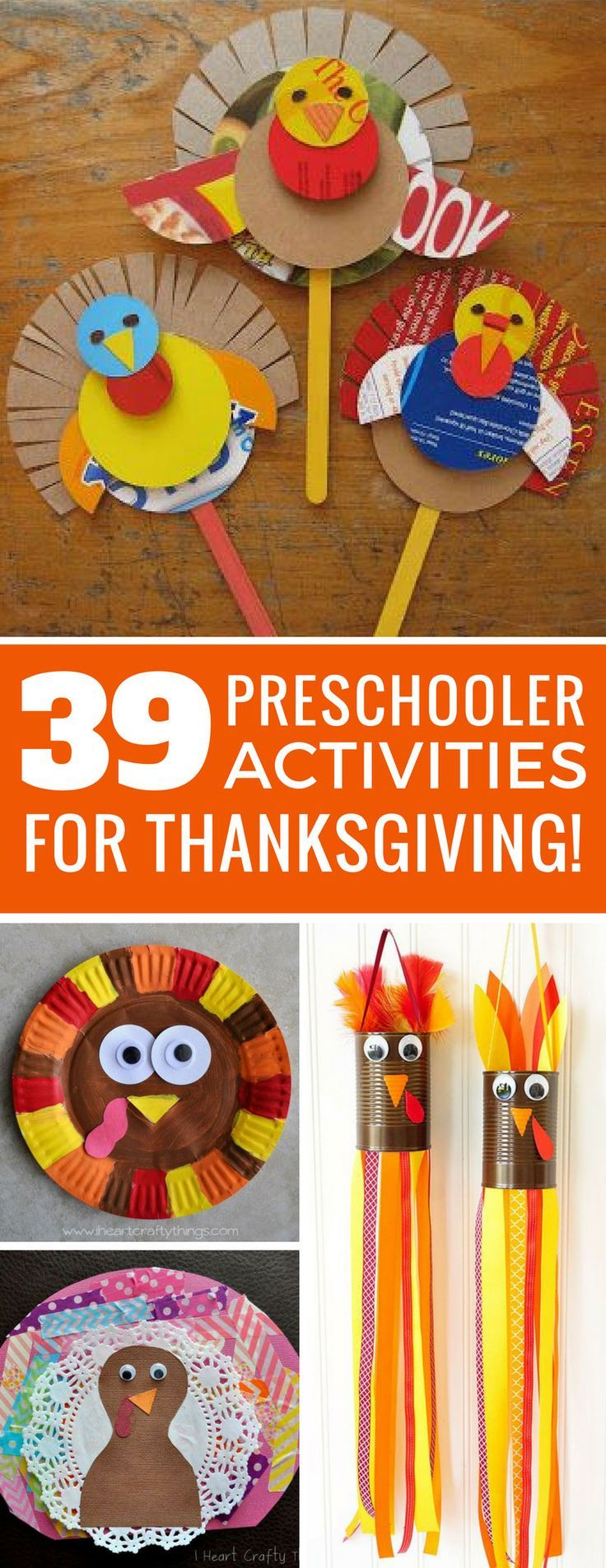 These Thanksgiving activities for preschoolers are so much fun- all kinds of turkey crafts for kids! A great way to keep little ones busy and crafty this holiday season!