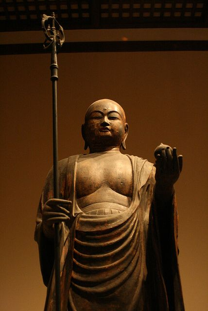 #buddhist Jizô (Bodhisattva Ksitigarbha) /Japan, Kamakura period (1185–1333) 12th–13th century Wood with traces of gilded lacquer, cut-gold decoration and color.