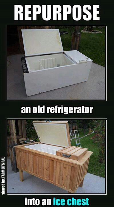 Great use for an old refridgerator!                                                                                                                                                      More