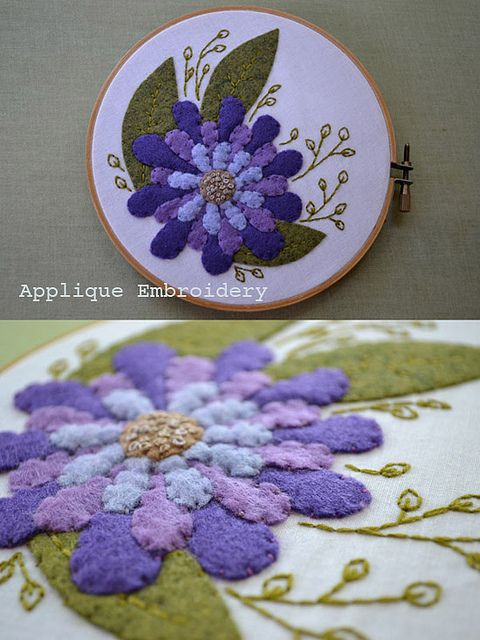 Applique -- I like the idea of using an embroidery hoop and applying an applique using embroidery technics.