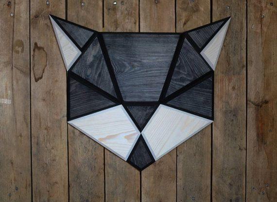 unique Geometric Tattoo - decoración de la pared de gato madera negro...