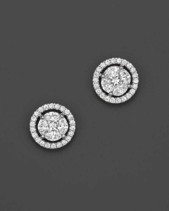 Diamond Cluster Halo Stud Earrings in 14K White Gold, .95 ct. t.w. – 100% Exclusive
