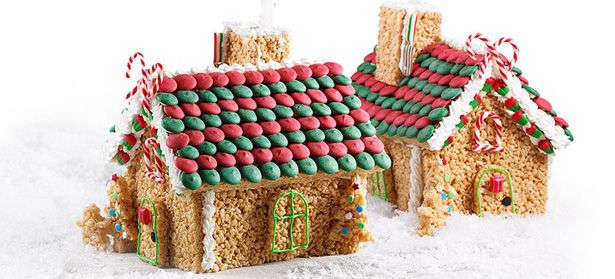 Rice Krispies Holiday Cottage - Fun is in the house! Try this tasty twist on a classic gingerbread house. #ricekrispies #holidayhouse #holidaybaking