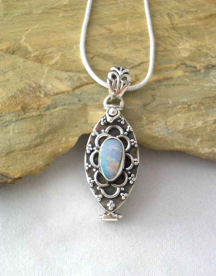 """Genuine AUSTRALIAN OPAL DOUBLET Gemstone, 925 Solid Sterling Silver Locket Poison Delicate Pendant with Free Snake Chain 16""""! by AmeogemJewellery on Etsy"""