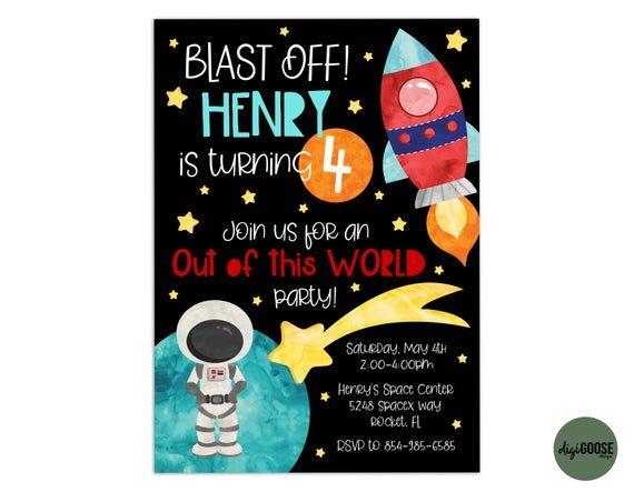 Blast Off Birthday Invite Blast Off Birthday Invitation Blast Off Birthday Invitation PLASTIC Blast Off Birthday Blast Off Birthday