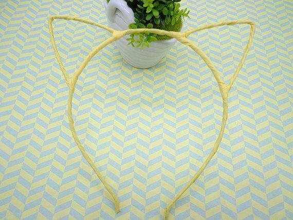 5 pcs Headbands - - Yellow Cloth Covered Cat Head Shape Headband