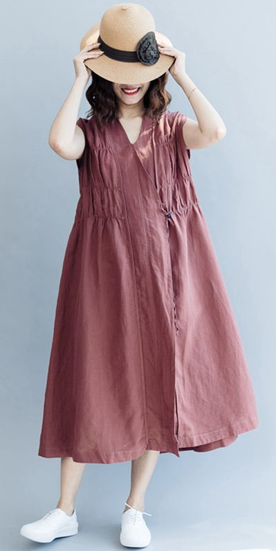 d7153c2a92 FASHION V NECK SLEEVELESS MAXI DRESSES WOMEN COTTON LINEN CLOTHES Q2072