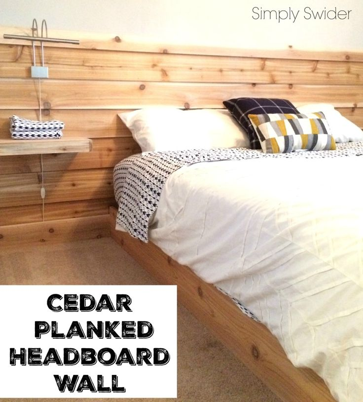 Cedar planked headboard wall in guest room