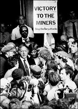 Arthur Scargill declares NUM's strike action official, Sheffield, March 1984.
