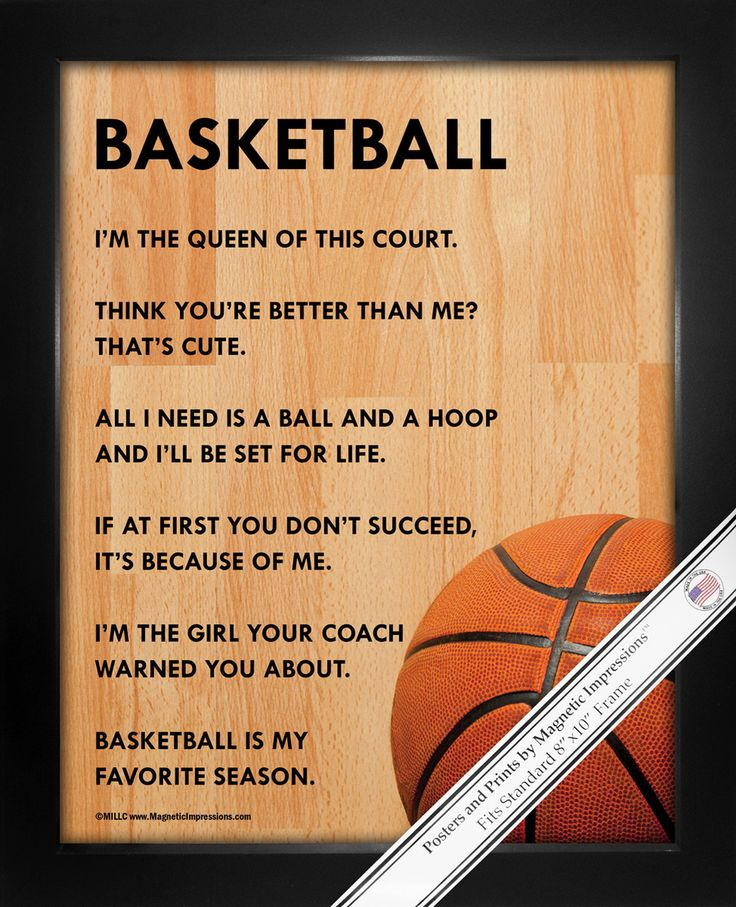 """Basketball Female Poster Print is full of attitude. A basketball court and funny quotes make this the perfect gift. """"I'm the girl your coach warned you about,"""" is just one sassy and inspirational quot"""