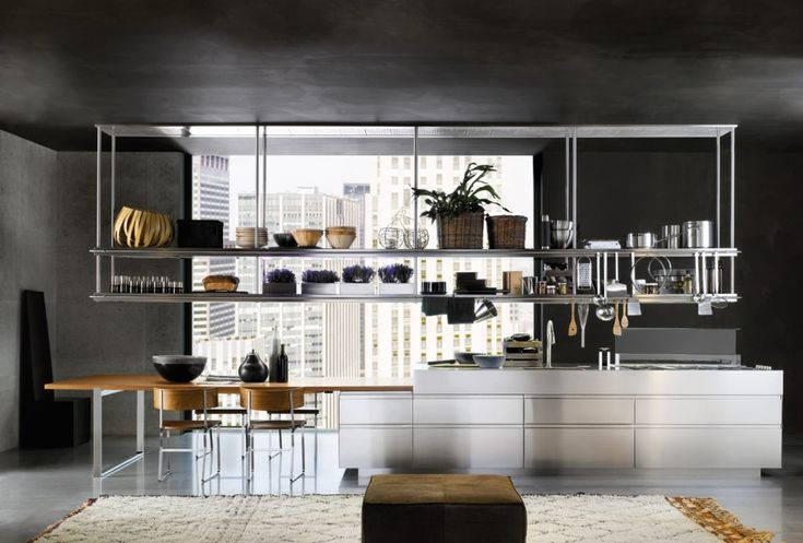 Kitchen:Nice Looking Organized Kitchen Space With Hanging Stainless Steel Racks Shelves And White Kitchen Cabinet Idea Great Choice of Stainless Steel Kitchen Storage to Make Kitchen More Comfortable