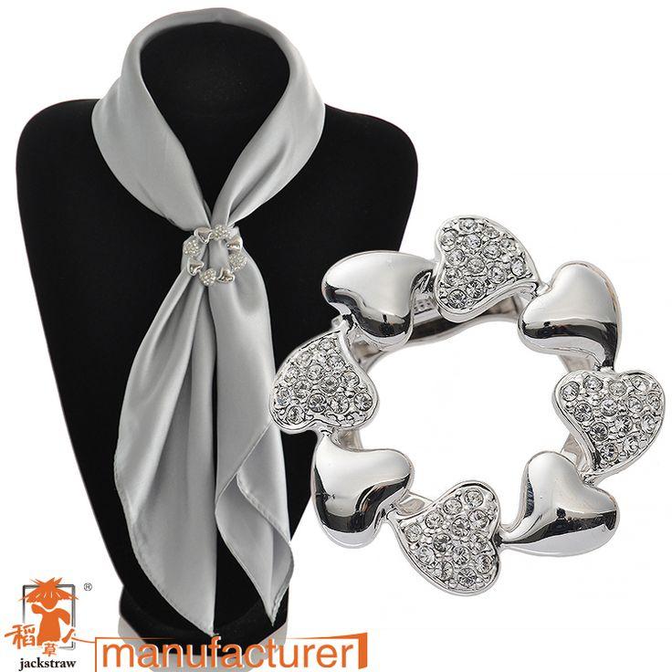 Koreaanse nieuwe mode vesion van hart handgemaakte goedkope strass zilveren broches en sjaal gesp dual voor trouwjurken
