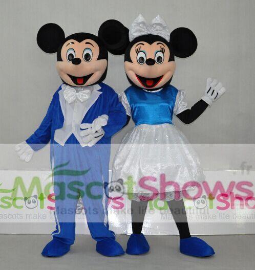 Couple Disney Marine Minnie et Mickey Costume Peluche Mascotte des Adultes Dessins Animés