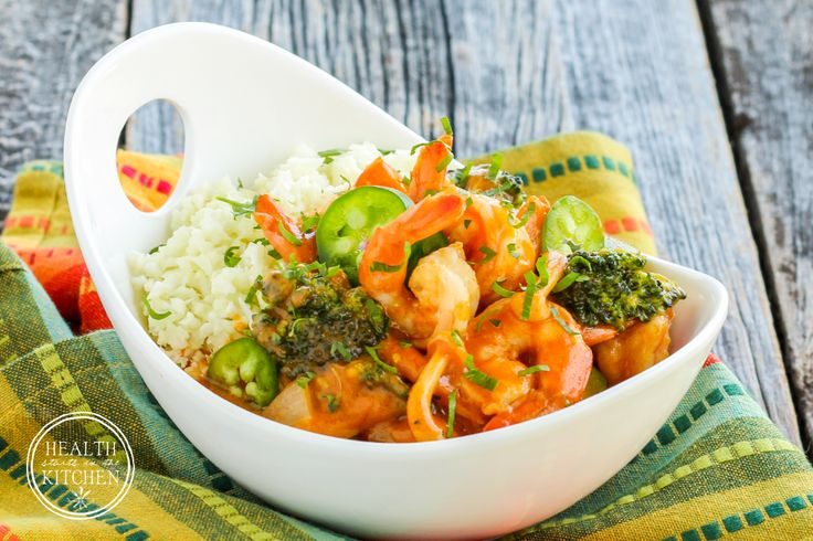 Thai Red Curry Shrimp has become one of our favorite dishes to enjoy at home. We fell in love with it as a local Thai restaurant, recreated this flavorful dish at home using the healthiest of ingredients. My Thai Red Curry Shrimp is Paleo, Gluten-Free & Low-Carb, friendly! There's a lot of flexibility with this dish… you can make it