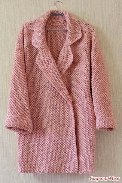Пальто оверсайз спицами. Описание