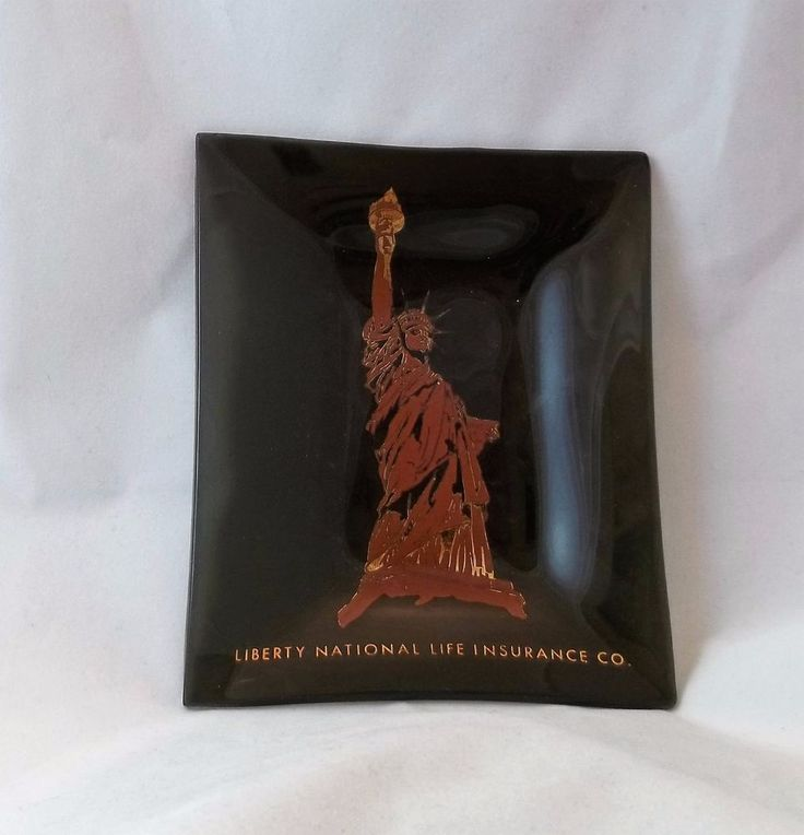 Vintage Liberty National Insurance Glass Ashtray