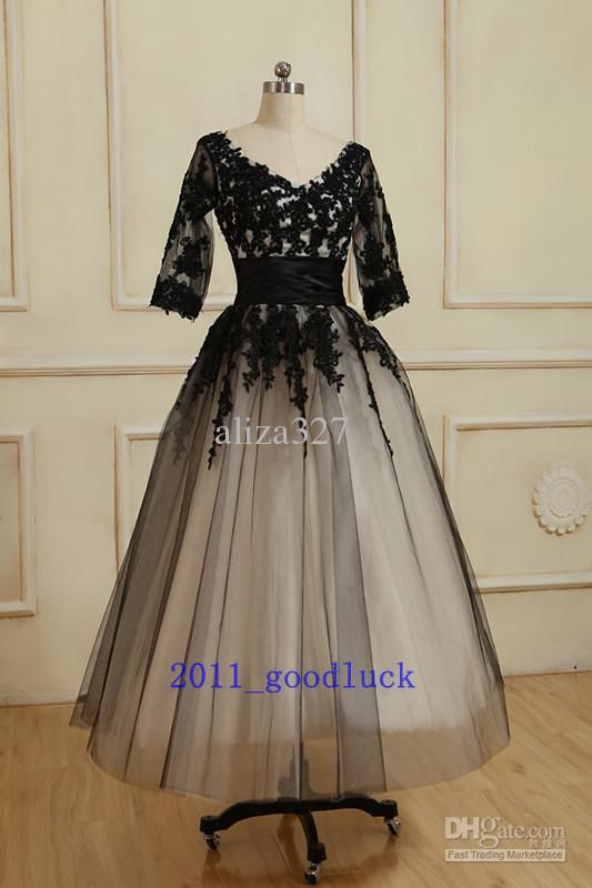 Discount Black Lace Sleeve Dress Tea Length Mother of the Ball Gown: 6... + 18 Online with $135.23/Piece | DHgate