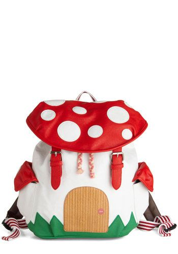 Fungi House Backpack - Faux Leather, Red, Multi, Braided, Buckles, Pockets, Kawaii, Mushrooms, Novelty Print, Casual, Travel, Quirky, White