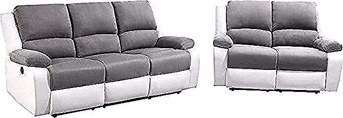 Relax Ensemble De Canape Relax 3 2 Places Electrique Simili Blanc Et Microfibre Grise Couch Home Decor Furniture