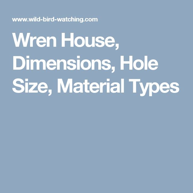 Wren House, Dimensions, Hole Size, Material Types