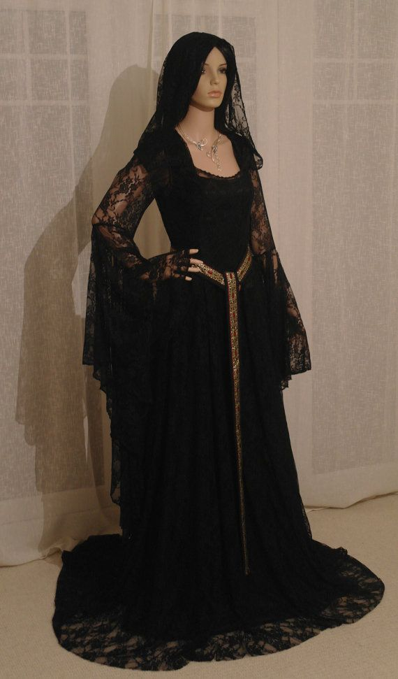 Galadriel black lace dress with hood LOTR by camelotcostumes