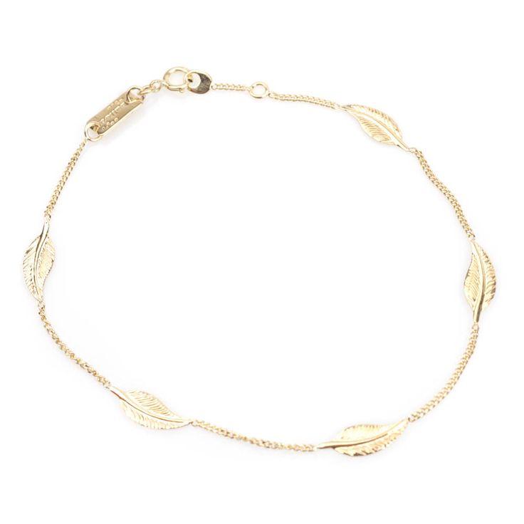 #Bijou Femme :: #Bracelet 5 Petites #plumes - Disponible en #Or Blanc ou en Or Jaune.