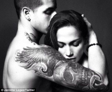 Jennifer Lopez tweets—the removes—Valentine's photo with tattooed boyfriend.