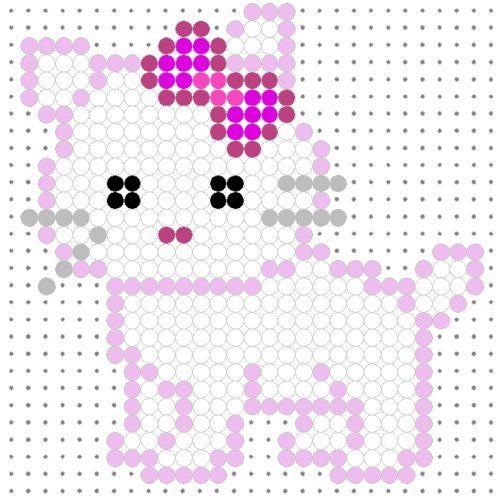 Cute White Kitty Perler Bead Pattern