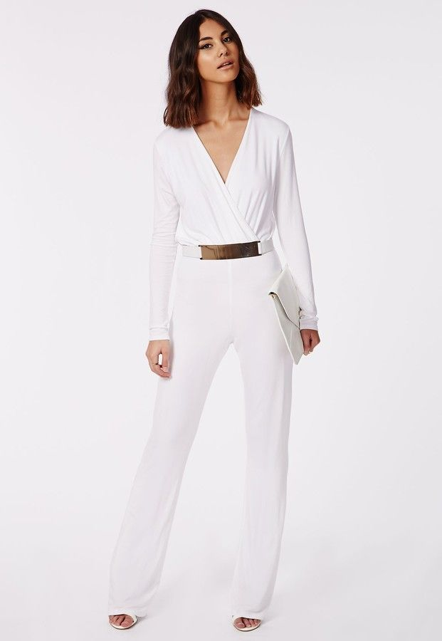 Deliana Long Sleeved Wrap Wide Leg Jumpsuit White - Click for product details :)