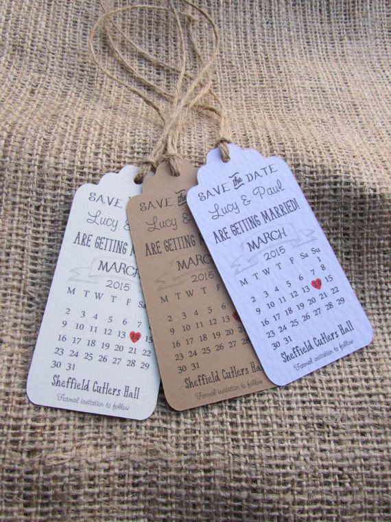 Cute Calender Save the date or evening luggage tags, fully personalised, White, Cream or Brown Kraft