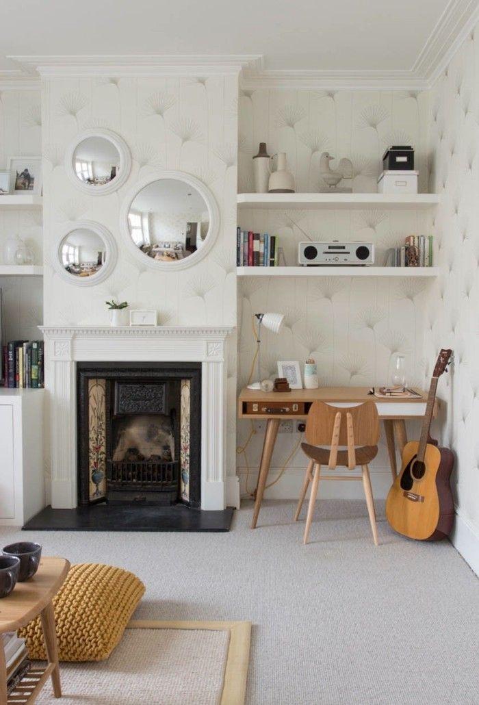 Einrichtungsideen Wohnzimmer Arbeitsbereich Integrieren Kamin Wandtapete