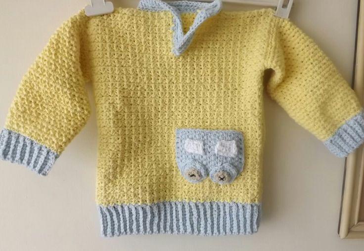 Sweater niño crochet. Punto bajo cruzado.