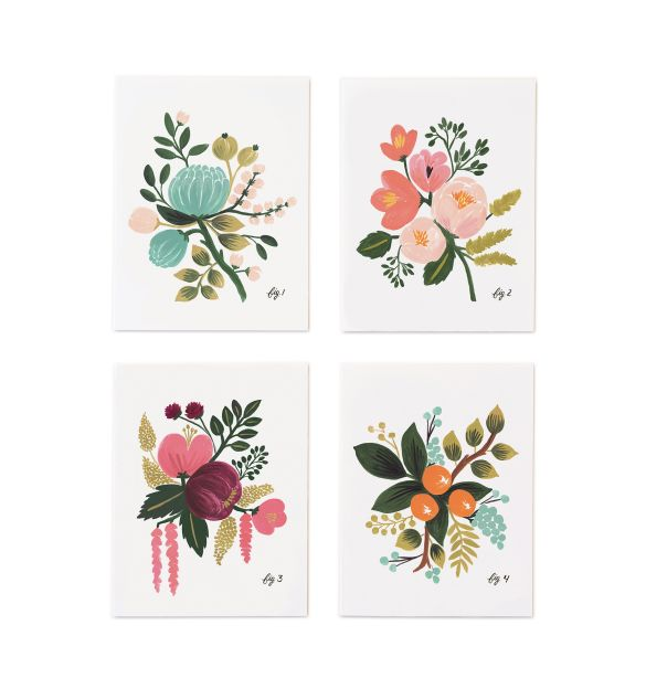 Botanical Set of 8 Folded Cards, 2 of Each Design Rifle Paper Co.  (To frame for artwork on the walls)