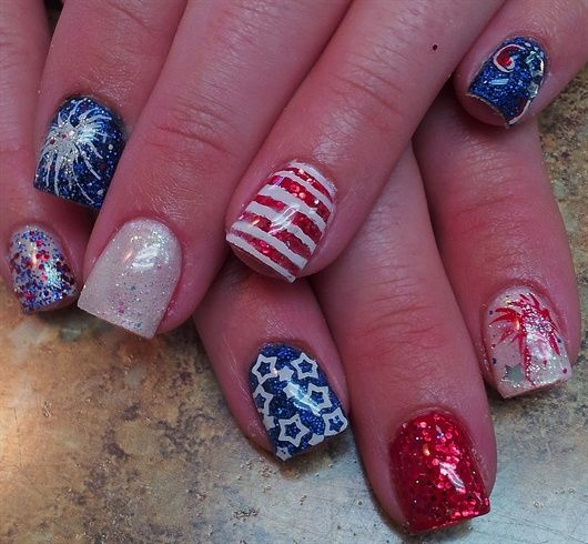 4th of July and Independence Day nail design