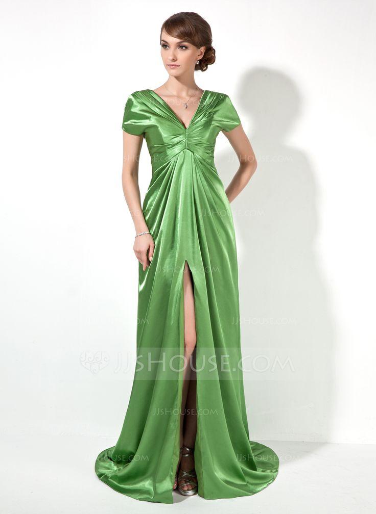A-Line/Princess V-neck Court Train Charmeuse Evening Dress With Ruffle Split Front (017022522) - JJsHouse