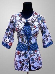 Baju Batik Wanita Modern Motif Bunga Warna Biru Kode KM 140 SMS ke 082134923704