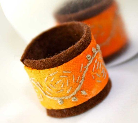 $14.00 #gift #ring #handembroidery #brigteam #etsyfollow #textileOrange, Brigteam, Embroidered, Textiles, Rings, Handmade, Awesome Colors, 2012 Bright, Stitches