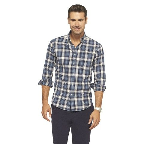 Merona Men's Plaid Shirt - Navy