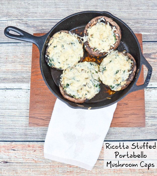 Ricotta Spinach Stuffed Mushrooms - YUM. I kind of liked the room for error in this recipe, but if you want structure, I used 1T olive oil, 3 garlic cloves, 4 cups fresh spinach, about 2/3 cup ricotta and about 1/4 cup parmesan.