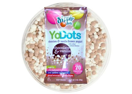 chocolate and vanilla frozen yogurt mixed together in  serving pack. Non fat and only 70 calories per serving  #dippindotsgr