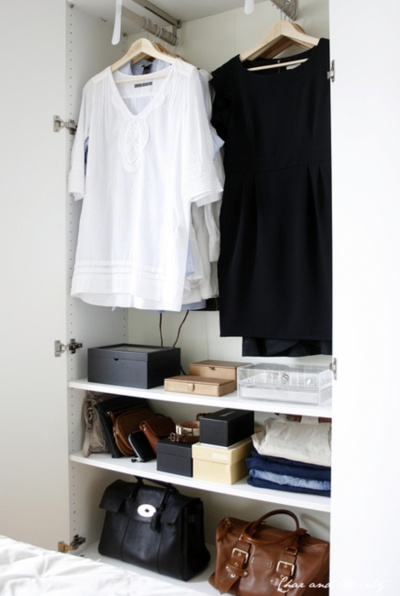 Minimalist Closet-notice the rod sticks out from wall, great idea for extremely narrow closest, (i used 8in ladder hang hooks)