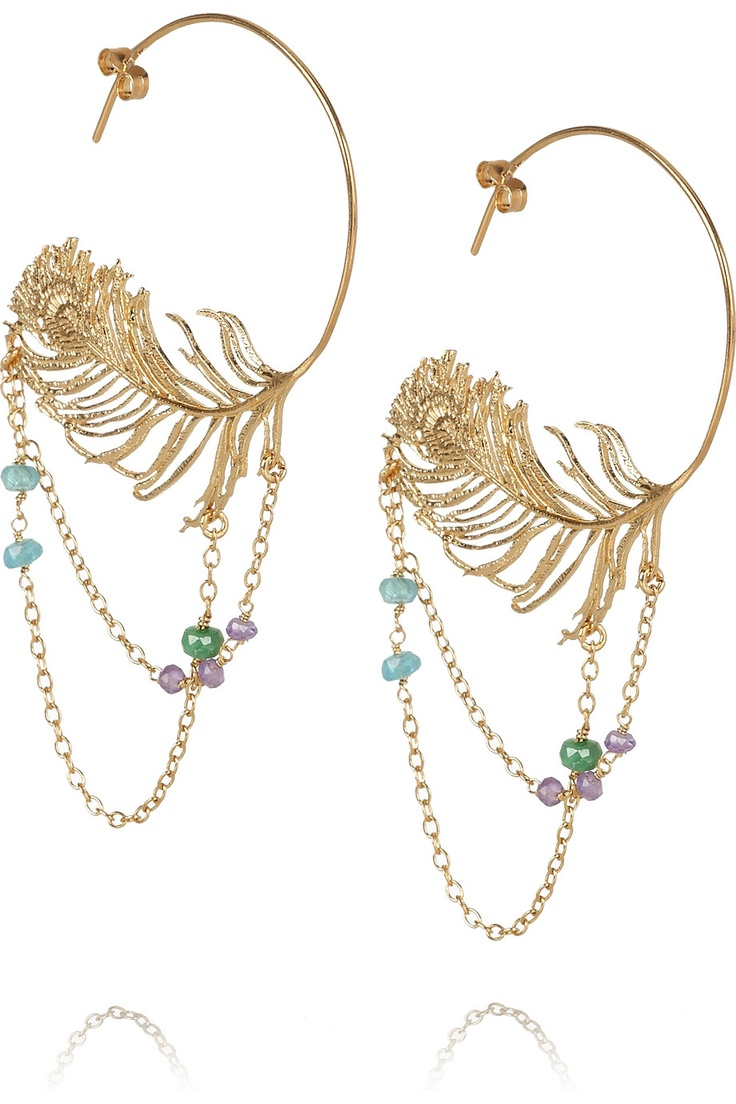 Alex Monroe..peacock feather earrings..