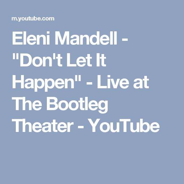"Eleni Mandell - ""Don't Let It Happen"" - Live at The Bootleg Theater - YouTube"