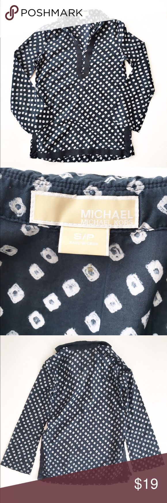 Micheal Kors printed tunic top Diamond print navy and white tunic top from Michael Michael Kors, size small. Semi sheer, features coordinating twill trim. Excellent condition. MICHAEL Michael Kors Tops Tunics