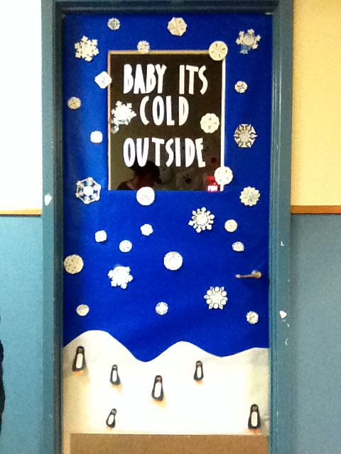 Winter infant classroom door!  The penguins are footprints!