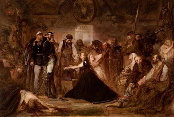 """""""Polonia (Poland), 1863"""", by Jan Matejko, 1864, National Museum, Kraków. (Public Domain) Pictured is the aftermath of the failed January 1863 Uprising. Captives await transportation to Siberia. Russian officers and soldiers supervise a blacksmith placing shackles on a woman (Polonia). The blonde girl next to her represents Lithuania."""