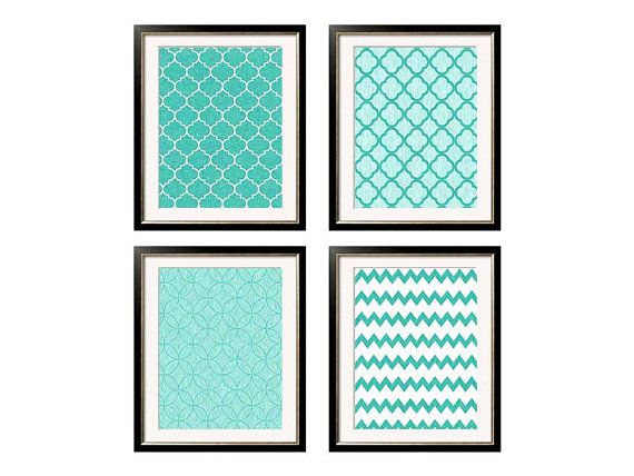 Turquoise Teal Wall Art Printable Files Teal By ModernPrintableArt